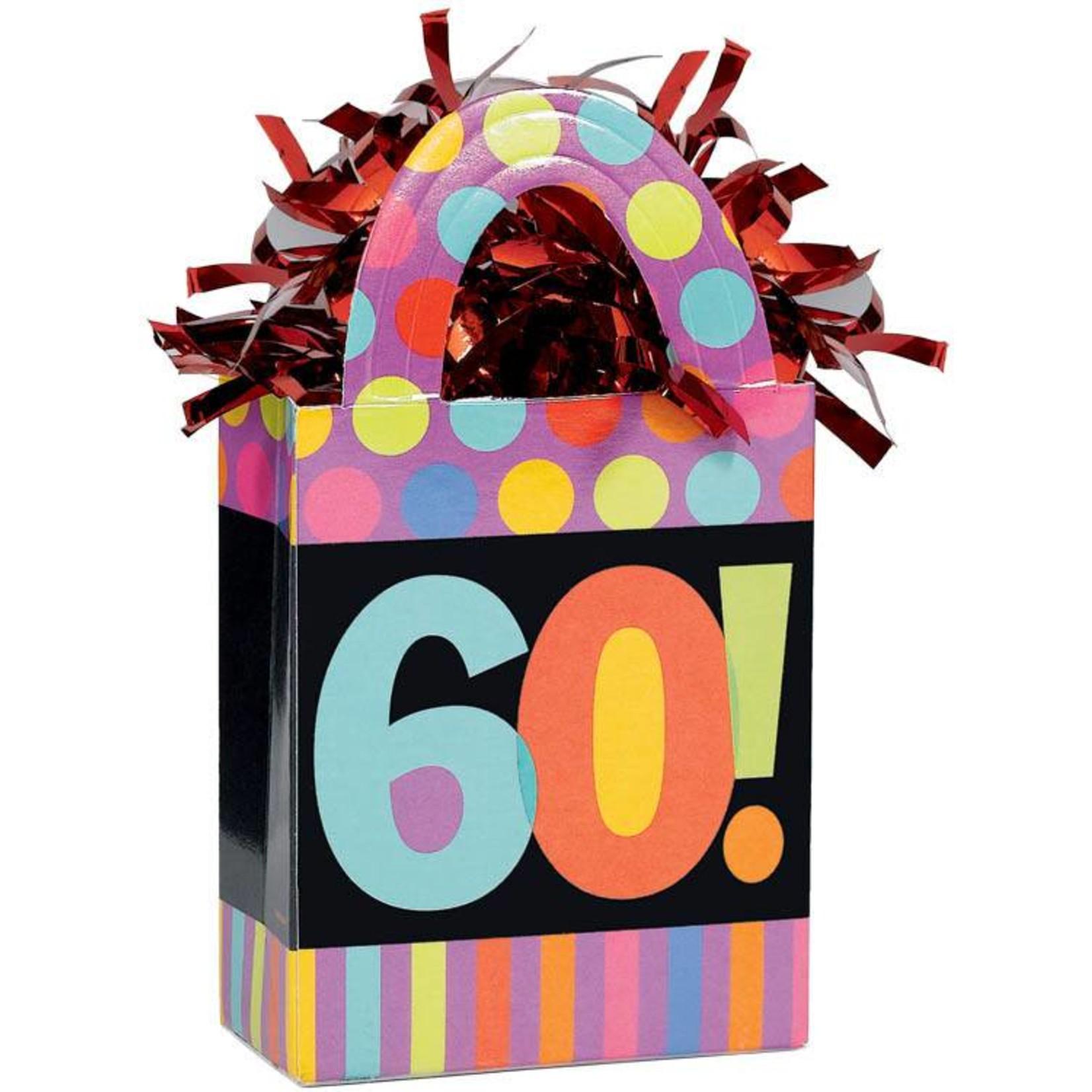 Balloon Weight-Dots & Stripes 60th Bday-5.7oz