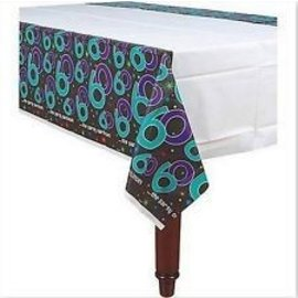 Table Cover-the party continues 60th Bday-Plastic-54'' x 102'' - Discontinued
