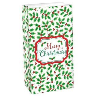 Treat Sacks-Christmas-Holly-12pkg-Paper