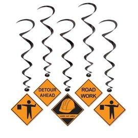 Danglers-Foil Swirl-Assorted Construction Signs-5pkg-3.4ft