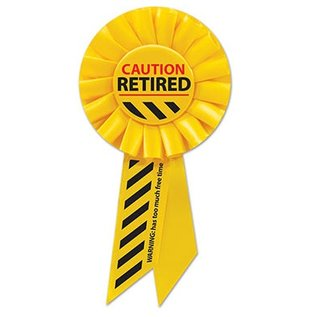 """Award Ribbon - Caution Retired - 1pkg - 6.5"""""""