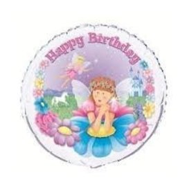 Foil Balloon - Happy Birthday Fairy - 18''