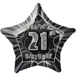 "Foil Balloon - Star - Happy 21st Birthday - Black - 20"""