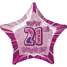 "Foil Balloon - Star - Happy 21st Birthday - Pink - 20"""