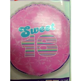 Foil Balloon - Sweet 16 - 18""