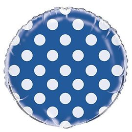 Foil Balloon - Dots - Royal Blue - 18""