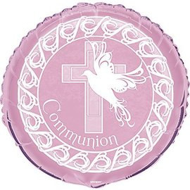 Foil Balloon - Dove Cross Communion - Pink - 18""