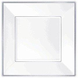 Plates-BEV-Premium-Square-White-W/Silver Border-8pk