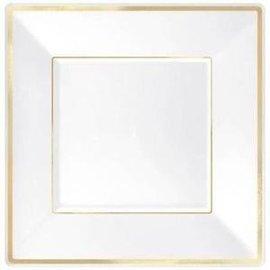 Plates Square Plastic White W/Gold Border