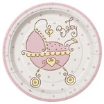 Beverage Plates-Baby Joy Pink-8pk-Paper - Discontinued