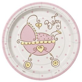 Beverage Plates-Baby Joy Pink-8pk-Paper - Discontinued