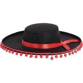 Hat-Spanish-Black-W/ Red Ball Fringe-Felt