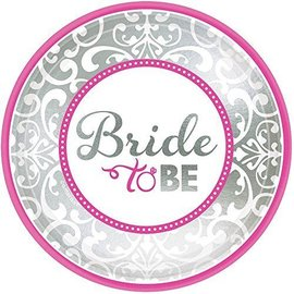 Plates-Bev-Classic Bride-Bride to Be-8Pk-Foil (Discontinued)