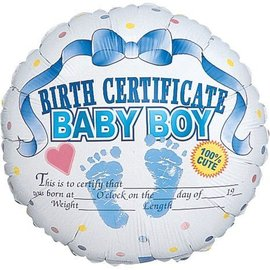 Foil Balloon - Baby Boy Birth Certificate - 18""