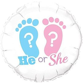 Foil Balloon - He or She Footprints - 18""