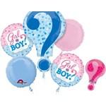 Foil Balloon-5pc Bouquet-Gender Reveal Question Mark