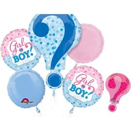 Foil Balloon-5pc Bouquet-Gender Reveal Question Mark