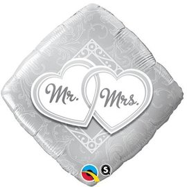 Foil Balloon - Mr. and Mrs. Entwined Hearts - 18""