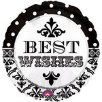 """Foil Balloon - Best Wishes Damask Dots - 18"""""""