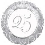 """Foil Balloon - Silver 25th Anniversary - 18"""""""