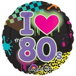 "Foil Balloon - I Love the 80's - 18"""