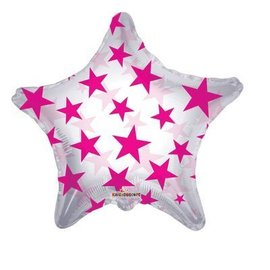 Foil Balloon - Hot Pink Stars - 22""