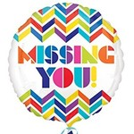 """Foil Balloon - Missing You Colorful Chevron - 18"""""""