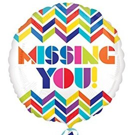 Foil Balloon - Missing You Colorful Chevron - 18""