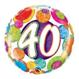 "Foil Balloon - 40 Birthday Dots - 18"""