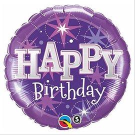 "Foil Balloon - Happy Birthday Purple Sparkle - 18"""