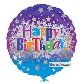 "Foil Balloon - Happy Birthday Bright Stars - 18"""