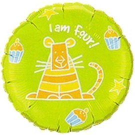 Foil Balloon - I Am Four Party Cat - 18""