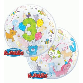 Plastic Bubble Balloon-3rd Birthday Animals-1pkg-22""