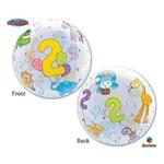 "Plastic Bubble Balloon-2nd Birthday Jungle Animals-1pkg-22"""