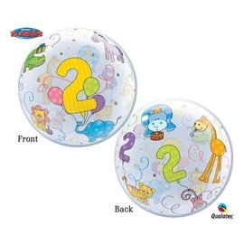 Plastic Bubble Balloon-2nd Birthday Jungle Animals-1pkg-22""