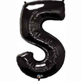 "Foil Balloon - Black #5 - 34"""