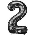 """Foil Balloon - Supershape - Number """"2"""" - Black - 34"""""""