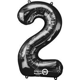 """Foil Balloon-Supershape-Number """"2""""-Black"""