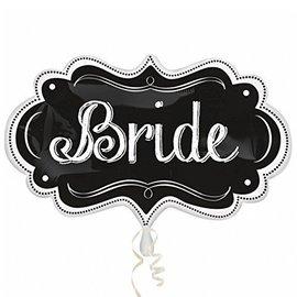 """Foil Balloon - Bride Chalkboard - 16""""x27"""""""