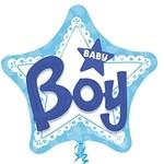 "Foil Balloon - 3D Baby Boy Blue - 32""x32"""