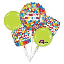 Foil Balloon Bouquet - Rainbow Polka Dot Happy Birthday - 5 Balloons - 2.3ft