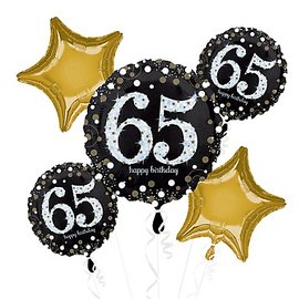 """Foil Balloons-5pc Bouquet-Sparkling """"65th"""" Birthday"""