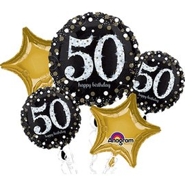 Foil Balloon Bouquet - 50th Birthday Sparkle - 5 Balloons - 2.3ft