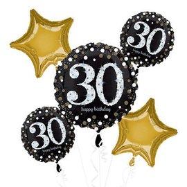 Foil Balloon Bouquet - 30th Birthday Sparkle - 5 pk - 2.3ft