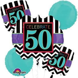 Foil Balloon Bouquet - Celebrate 50 Chevron - 5 Balloons - 2.1ft