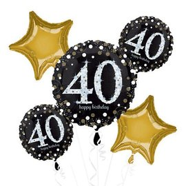 Foil Balloon Bouquet - 40th Birthday Sparkle - 5 Balloons - 2.3ft