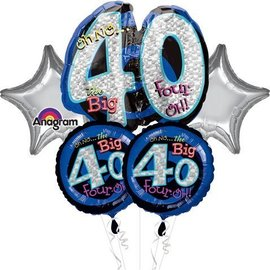 Foil Balloon Bouquet - Oh No the Big 40 - 5 Balloons - 2.25ft