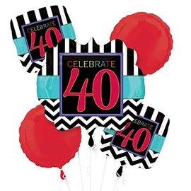 Foil Balloon Bouquet - Celebrate 40 Chevron - 5 Balloons - 2.1ft