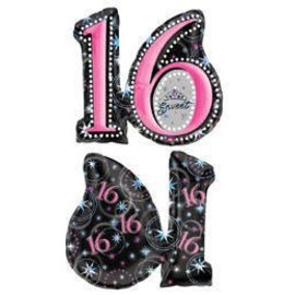 "Foil Balloon - Sweet 16 - 26""x28"""