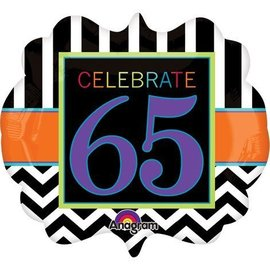 "Foil Balloon - Celebrate 65 Chevron - 25""x22"""